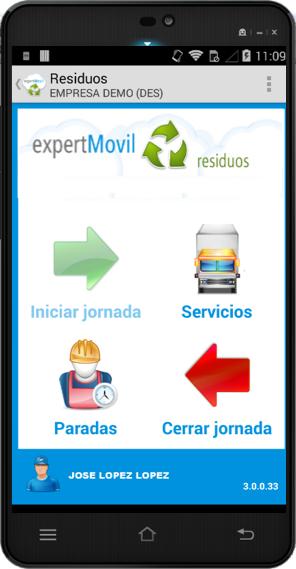 terminal con app residuos