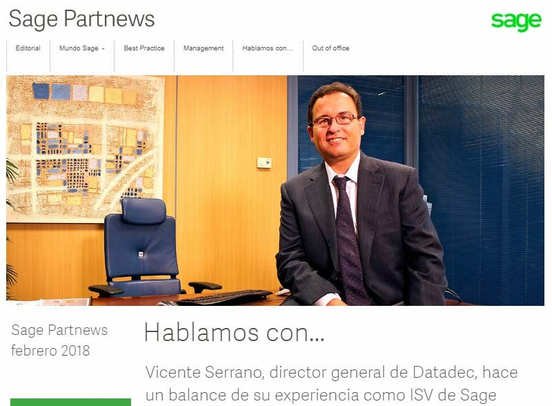 SAGE PARTNEWS PUBLICA UNA ENTREVISTA A VICENTE SERRANO CEO DE DATADEC